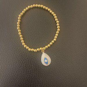 Gold Beaded 4mm Evil Eye Bracelet